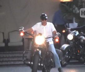 Superstud George Clooney Lunches At Chateau Marmont…with his Harley